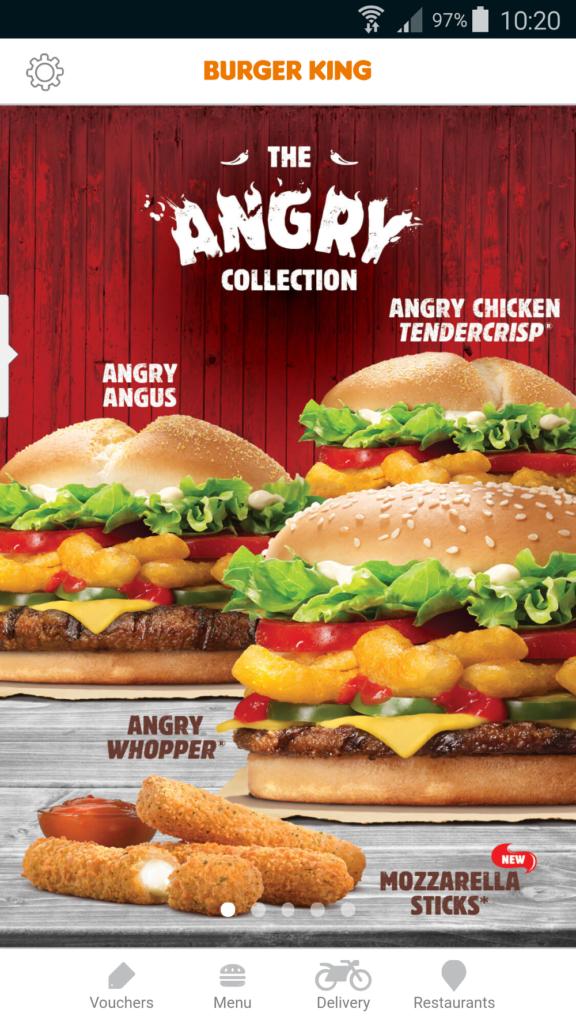 Burger King Home App Screen
